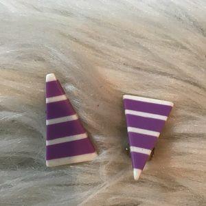 Vintage 80s Plastic Stripe Triangle Clip Earrings